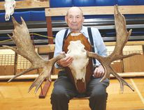 Harvey Wenzel, club member since 1983, holds the antlers of the moose he shot November 2017 near Oyen, at the Vulcan and District Gun Club's trophy night and banquet at the Cultural-Recreational Centre Feb. 3. He won first place in the moose category. Jasmine O'Halloran Vulcan Advocate
