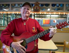 "Veteran Sam Carr picked up a guitar to participate in a weekly music therapy class at Parkwood Institute's Operational Stress Injury Clinic. ""PTSD is lonely, distant from friends, depression, some events come back into your mind,"" he said. ""Music helps with concentration and anxiety. I pick up my guitar and try to practise whenever I need to. I really enjoy it."" (CHRIS MONTANINI\LONDONER)"