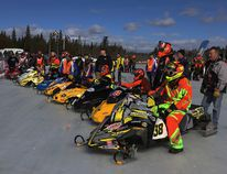 Racers taking part in the 43rd Bonnechere Cup last year line up before heading out. The 44th edition of the snowmobile races runs throughout the weekend in Eganville..