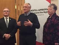 MPP Ernie Hardeman, with Ingersoll Mayor Ted Comiskey and Zorra Mayor Margaret Lupton, announced Friday he will introduce a bill to prevent landfills from being forced on unwilling muncipalities. (HEATHER RIVERS/SENTINEL-REVIEW)