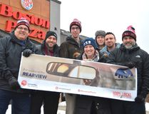 From left: former MP Joe Preston, Sean Dyke, Mike Kerkvliet, MP Karen Vecchio, Alex Aitken, Joshua Willer, and Tim Smart slept outside the local Boston Pizza during the second annual Sleepless in our City fundraiser. The event helped raise money and awareness for homelessness in St. Thomas. (Louis Pin // Times-Journal)