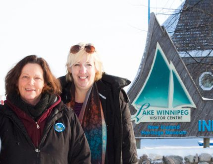 Gimli Ice Festival's Co-Chair Susan Holfeuer stands with her associate, Cheryl Buhler, a Gimli tourism committee member Feb 2.