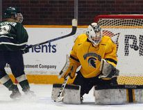 Nipissing Lakers forward Jade Gauthier (8), of Callander, scores the winning shootout goal against Waterloo Warriors goalie Taylor Reimer during OUA women's hockey action at Memorial Gardens, Friday. Nipissing won 2-1 after the six shooter event with Lakers' goalie Danika Ranger, of Astorville, making four straight stops to seal the victory. Dave Dale / The Nugget