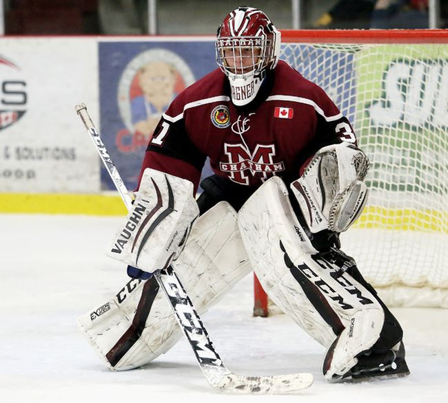 Chatham Maroons goalie Ryan Wagner plays against the LaSalle Vipers at Chatham Memorial Arena in Chatham, Ont., on Sunday, Feb. 18, 2018. (MARK MALONE/Chatham Daily News/Postmedia Network)
