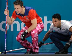 Norway's skip Thomas Ulsrud, left, and Japan's Tsuyoshi Yamaguchi look at stone placements during their men's curling match at the 2018 Winter Olympics. The two skips were also at last year's Shorty Jenkins Classic in Cornwall. Postmedia Network