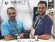 Lowell Misener and Chris Adamson of CALM Technologies Inc. in their Swidget booth at the CES Show in Las Vegas on Jan. 10. (Supplied photo)