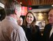 Ontario PC leadership candidate Caroline Mulroney chats with supporters, including Jim Gordon, right, during a Northern Ontario tour stop in Sudbury on Monday. (Gino Donato/Sudbury Star)