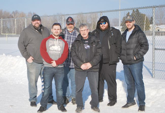 It may be winter but getting ready for the upcoming spring/summer football season are back row, left to right, Sault Steelers head coach Brandon Lewis and various assistants Joe Cond, Ashton Young and Jonathan Bujold and front row, Steve Hiiemaa and Paul Simard. Allana Plaunt/Special to Sault This Week
