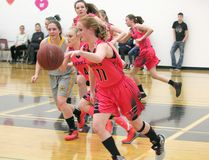 Hanna Hawks' Sarah Palmer drives the ball down the court during the Sweetheart Tournament on Friday Feb. 16-17, 2018 in Hanna, Alta. The girl faced off against Drumheller during the opening game, winning 65-30. Misty Hart/Hanna Herald/Postmedia