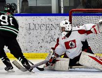 North Bay Dig Safe Major Bantam AAA Trappers goalie Jack McKay makes a big save during Sunday morning's 7-1 win over the Timmins North Stars. Supplied Photo
