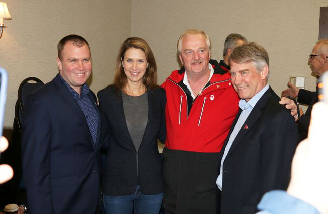 Ontario PC leadership candidate Caroline Mulroney, centre left, was in Timmins on Tuesday, meeting with party members as part of her campaign tour of Northern Ontario. Some of those in attendance were Timmins Mayor Steve Black, Mulroney, PC organizer Steve Kidd, and Parry Sound – Muskoka MPP Norm Miller. Mulroney also visited Kapuskasing and Thunder Bay on Tuesday. LEN GILLIS / Postmedia Network