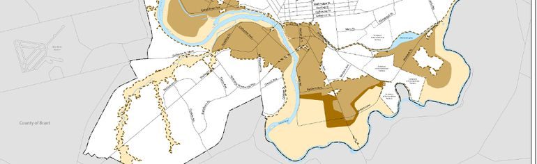 Map issued by City of Brantford shows floodplain areas impacted by evacuation order.