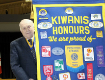 Jack Ross carries out a Kiwanis Club of Stratford banner during the club's final meeting at the Kiwanis Community Centre on Tuesday, Feb. 20, 2018 in Stratford, Ont. Terry Bridge/Stratford Beacon Herald/Postmedia Network