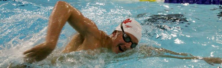 Gabe Mastromatteo has racked up a lot of Air Miles in 2018 but was back in the Kenora Recreation Centre pool, Tuesday, Feb. 13, between trips to Trinidad and Florida. SHERI LAMB/Daily Miner and News/Postmedia Network