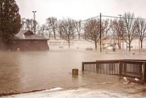 Last Monday about 60 mm of rain soaked Seaforth in 48 hours, that and the mixture of snow thaws left the Seaforth Lions Park nearly submerged. (Photo courtesy of a Facebook page by Melissa Roden Photography)