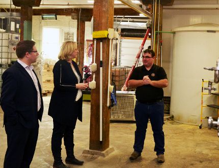 Perth-Wellington MP John Nater and Lisa Raitt, the federal opposition's deputy leader, toured the Junction 56 distillery in Stratford with owner/distiller Mike Heisz Thursday afternoon. (Galen Simmons/The Beacon Herald)