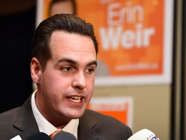 NDP candidate Erin Weir speaks after his election win in the Regina-Lewvan riding in Regina on October 19, 2015. Don Healy / Regina Leader-Post/Postmedia Network
