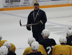 Fort McMurray Oil Barons head coach Tom Keca addresses his players at practice Wednesday. The MOB return to Camrose for the second time this season for the AJHL Showcase where they'll face the Calgary Canucks Friday and Camrose Kodiaks Saturday. Robert Murray/Fort McMurray Today/Postmedia Network