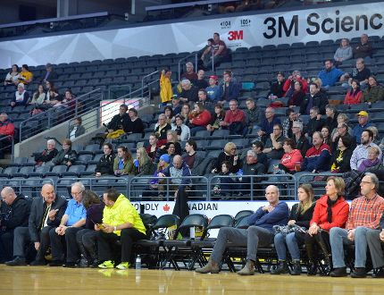 A sparse crowd takes in a London Lightning game this season at Budweiser Gardens. The Lightning, though, easily lead the NBL in attendance. (MORRIS LAMONT, The London Free Press)