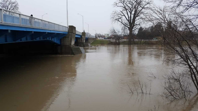 The Thames River is shown near Keil Drive in Chatham Friday morning. Levels are expected to peak in Chatham-Kent throughout the day to Saturday morning. Trevor Terfloth/The Daily News