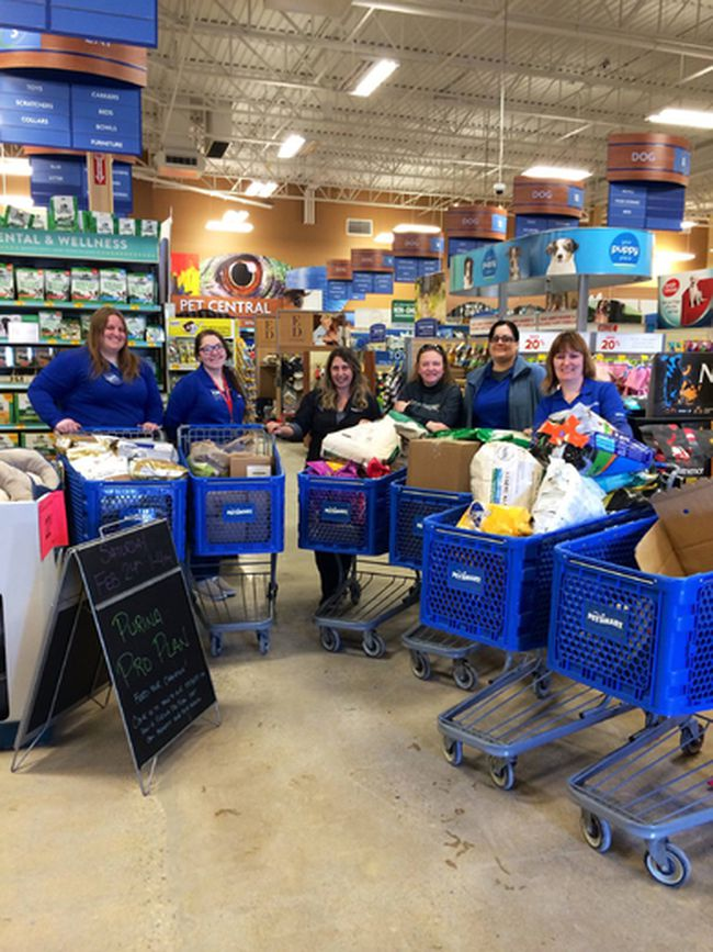 Six shopping carts were filled with donations for the Gimli Humane Society Feb. 13.