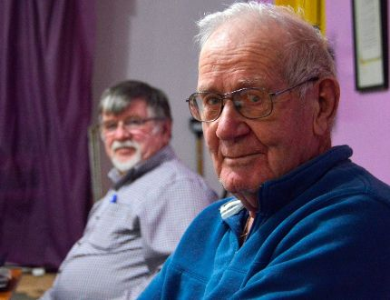 President of the Dutton Lion's Club Don Campbell, right, sits beside Stan Champ at a regular Lions meeting. The rural club is on a membership upswing contrasting those in urban centres, which have seen their numbers dwindle over the last two decades. (Louis Pin/Times-Journal)