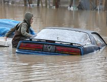 Chatham-Kent has declared a state of emergency as the Thames River is expected to peak near Thamesville between 6-9 p.m. on Friday. Here Amber Hawkins checks out a car parked in the rear of a downtown Chatham home near the river. (Dan Janisse / Windsor Star)
