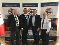 John Malloy, chair of the Board of Fire Rein Inc, left, Rui Resendes, president and CEO of Fire Rein Inc, Mike Bossio, Member of Parliament for Hastings, Lennox and Addington, Jeff Thompson, acting chief Stone Mills Fire Department at the funding announcement in Greater Napanee on Thursday, February 22, 2018, Supplied photo