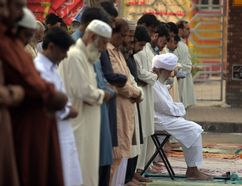 <p>Pakistani Muslims offer Eid al-Adha prayers outside the Red Mosque in Islamabad on Sept. 13, 2016. Muslims across the world celebrate the annual festival of Eid al-Adha, or the Festival of Sacrifice, which marks the end of the Hajj pilgrimage to Mecca and in commemoration of Prophet Abraham's readiness to sacrifice his son to show obedience to God.</p><p> AAMIR QURESHI/AFP/Getty Images