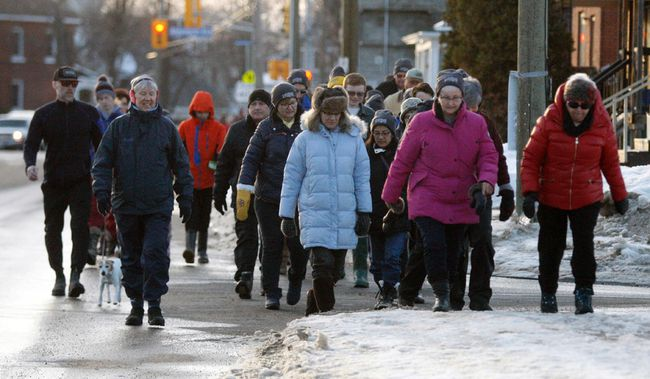 About 175 walkers hit the streets in North Bay Saturday during the fifth annual Coldest Night of the Year fundraiser for the Gathering Place and Warming Centre.