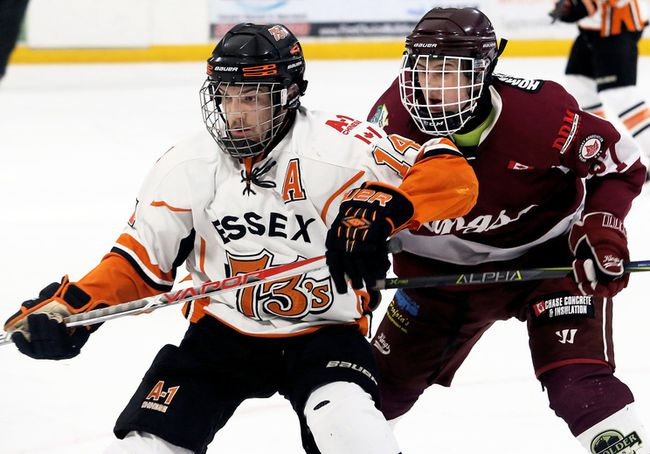 Anthony Cristofaro (14) of the Essex 73's is chased by Dresden Kings' Aidan Lachine (27) in the first period at Lambton-Kent Memorial Arena in Dresden, Ont., on Friday, Feb. 23, 2018. (MARK MALONE/Chatham Daily News/Postmedia Network)