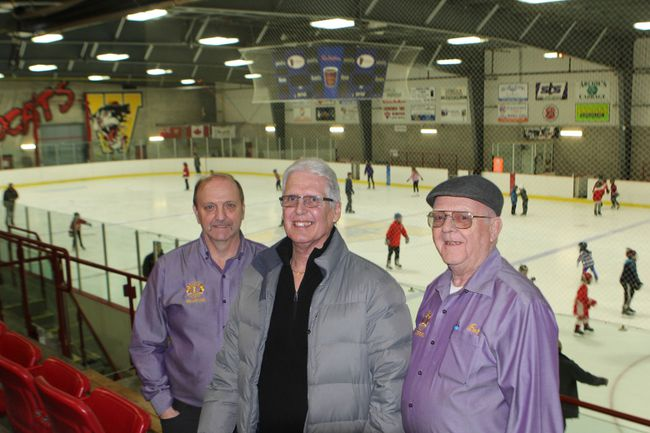 Bordan Tchegus, Al Hagerman and Bob Raaflaub of the Waterford Lions Club were at the Waterford Tricenturena on Saturday for the annual skate-a-thon. Hagerman and Raaflaub started the event 15 years ago to help fund the arena's upgrades. Since then the skate-a-thon has raised thousands of dollars to support other community needs and services. VINCENT BALL/POSTMEDIA NEWS