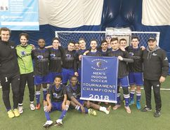 Members of the Sault College Cougars who won the men's indoor soccer championship at the Georgian College tournament include players Aidan McBurney, Peter Anjolaluwa, Brad Brideaux, Brian Genua, Cody Brideaux, Daniel Roussain, Den Oumer, Giuseppe Bruni, Josh Vena, Nate Sousa, Janvier Nsengiyumva, Paul Burritt, Sebastian McCullough, Sasha Wolyniuk, Tyler Bickell and Michael Chilelli and coaches Joe Ceglie, Scott Davie and Brett Davie.