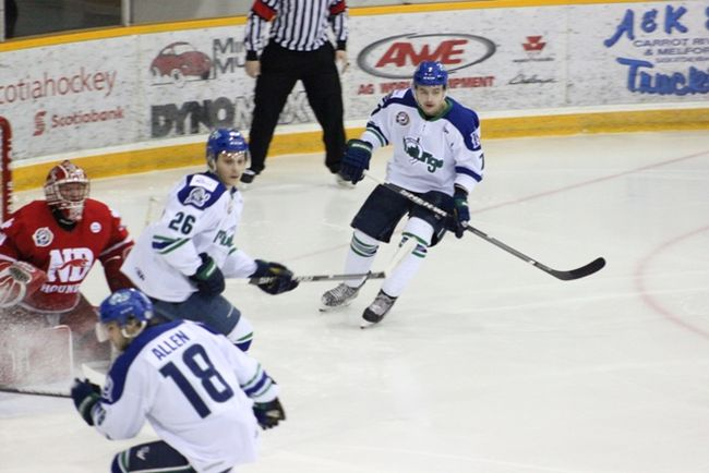 The Melfort Mustangs' Tyler Heidt watched the play during the Mustangs' 5-0 win over the Notre Dame Hounds on Friday, February 23 at the Northern Lights Palace.