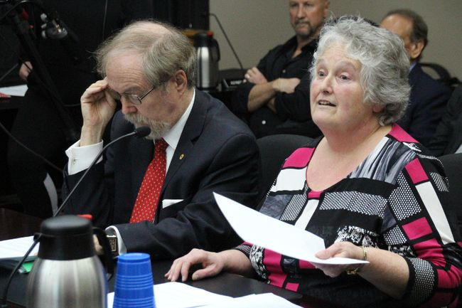 <p>SD&G Historical Society chair Sue Holland-Lalonde and the society's attorney Marc Denhez appeared in front of city council to answer questions about the controversies swirling around the group's governance on Monday February 26, 2018 in Cornwall, Ont.</p><p> 