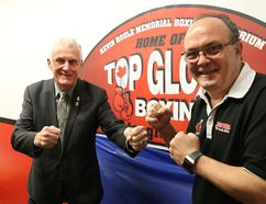 Conrad Houle, left, and Gord Apolloni, of Top Glove Boxing Academy, were on hand for a press conference in Sudbury, Ont. on Tuesday February 27, 2018. Apolloni announced the new location of the facility that will be called the Kevin Houle Memorial Boxing Auditorium Home of Top Glove Boxing. John Lappa/Sudbury Star/Postmedia Network