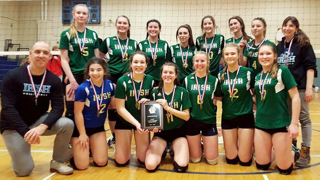 The St. Patrick's Fighting Irish are the 2017-18 LKSSAA and SWOSSAA AAA junior girls' volleyball champions. The Irish are, front row, left: coach Ben Goetz, Mia Dicocco, Ally Moulson, Abby Vrolyk, Abbie Williams, Mackenzie Hocking and Sydney Krasinkiewicz. Back row: Emma Thompson, Melanie Blackburn, Juliette Rossi, Lauren Cossa, Isabelle Thiffeault, Emma Fitzpatrick, Taylor Krasinkiewicz and coach Kelly Goetz. (Contributed Photo)