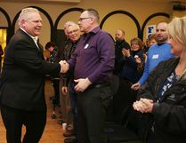 Doug Ford greets supports in Sudbury on Tuesday.