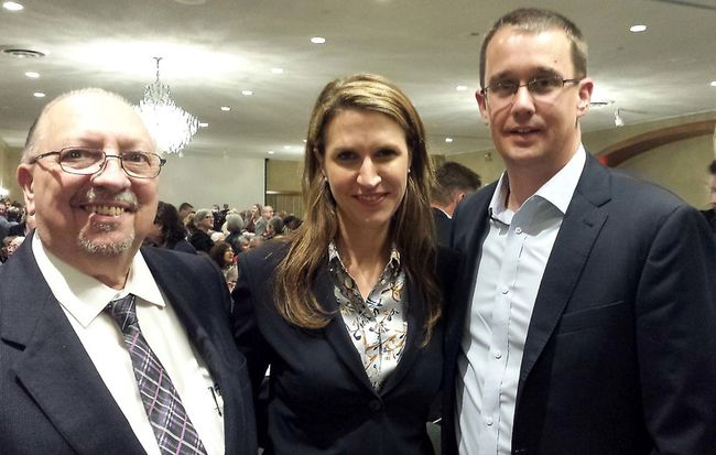 Ontario Tory leadership hopeful Caroline Mulroney is flanked by Sarnia-Lambton MPP Bob Bailey, left, and Monte McNaughton, MPP for Lambton-Kent-Middlesex. Dan Brown/Postmedia Network