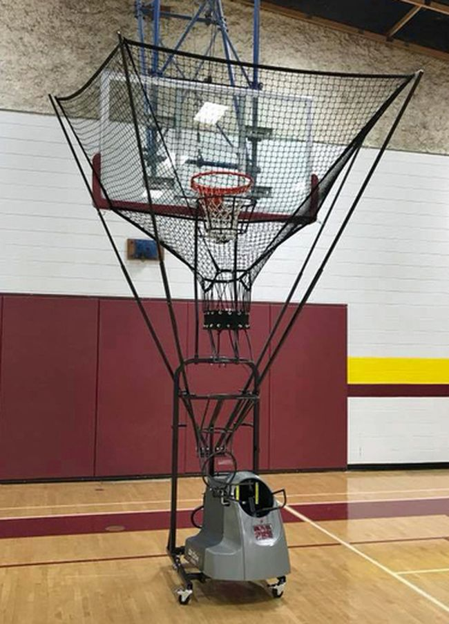 The new Dr. Dish shooting machine set up at Portage Collegiate Institute. It was purchased by the four basketball teams and the new basketball academy. (submitted photo)