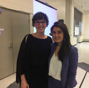 Liz Brown, left, executive director of Violence Against Women Services Elgin County, with Farrah Khan, who spoke about her experiences of sexual violence at the Women's Breakfast for Everyone Thursday. (Laura Broadley/Times-Journal)