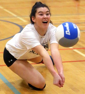 Oakridge Oaks senior girls volleyball co-captains Natalie Lyons, above, and Hannah Petcoff, both dig the idea of playing the OFSAA tournament in front of a home crowd. ?The energy they bring, really pumps us up,? Lyons said. (Mike Hensen/The London Free Press)