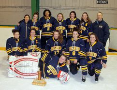 The Bishop Smith High School Crusaders girls hockey team are Renfrew County champions, after defeating Valour High School at the Petawawa Civic Centre on Thursday in the Frozen Four tournament. Standing in the back row, starting from left, is coach Leslie Spencer, Jamie Broome, Ali Obasohan, Aurora Dament, Kaitlyn Bourgeois, Kaylie Kuehl, and coach Mike David. In the front row, starting from left, is Mackenzie Godin, Sherry Ethier, Abbie McGrath, Jenna White and Karsyn Keetch. Lying down in front is goalie Shannon O'Grady.