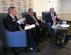 Moderator David Prang (left) a vice-president of the Brantford-Brant Chamber of Commerce, poses questions to Brantford-Brant MP Phil McColeman and Brant MPP Dave Levac at the chamber's annual MP-MPP breakfast Friday at the Best Western Brantford Hotel and Conference Centre. (Susan Gamble/The Expositor)