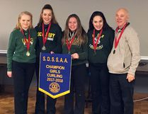 The Lockerby Vikings girls high school curling team of Elizabeth Huska, Abby Deschene, Jessica Leonard, Sydnie Stinson and coach Bill McKetsy (absent is Hannah Castonguay) claimed a second straight NOSSA banner this season. Photo supplied