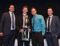 From left are Canmore Eagles GM and head coach Andrew Milne, Colton Young winning the most valuable player award, goal coach Justin Cardinal and assistant coach Evan McFeeters at the Canmore Eagles banquet and awards dinner at the Cornerstone Theatre in Canmore on Friday, March 2, 2018. photo by Pam Doyle/www.pamdoylephoto.com
