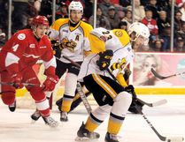 Sarnia Sting's Curtis Egert (23) carries the puck while teammate Connor Schlichting and Soo Greyhounds' Taylor Raddysh look on during the first period Friday at the Essar Centre in Sault Ste. Marie, Ont. BRIAN KELLY/Postmedia Network