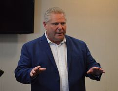 Ontario Premier Doug Ford is seen here addressing a group of Progressive Conservative supporters in Timmins during the election campaign earlier this year.