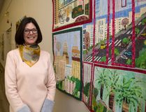 Cynthia McNeil is curator of the Landscapes of Israel, an exhibition of quilts by the Encounters Art Quilt Group of Israel on display at the Jewish Community Centre. (Mike Hensen/The London Free Press)