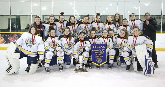 Members of the College Notre Dame Alouettes celebrate winning the Division I city girls hockey championships after defeating the Lo-Ellen Knights in Sudbury, Ont. on Monday February 26, 2018. Gino Donato/Sudbury Star/Postmedia Network
